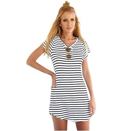 Women Crew Neck Short Sleeve Striped Loose T-Shirt Mini (Mini Stripe Dress Shirt)