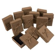 Gift Box Set - 12-Piece Jewelry Gift Boxes for Rings, Pendants, Necklaces - Ideal for Anniversaries, Weddings, Birthdays - Brown, 3.6 x 1 x 2.7 inches