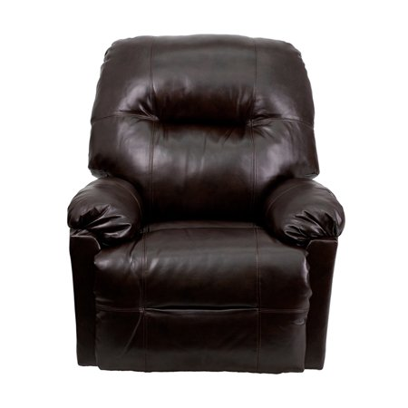 Offex Contemporary Bentley Brown Leather Chaise Power Recliner