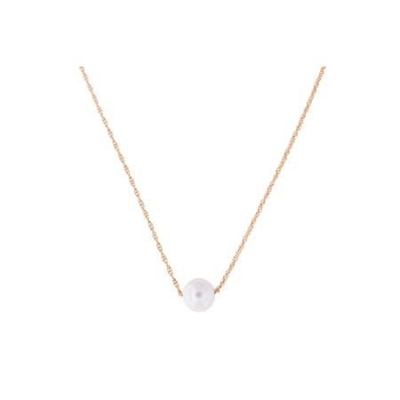 14k Yellow, White or Rose Gold Rope Chain 6mm White Freshwater Cultured Pearl - Rose Gold Rope