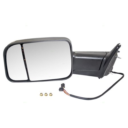Drivers Power Side Tow Flip-Up Mirror Heated Signal Puddle Lamp Replacement for Dodge RAM Pickup Truck 55372069AF 55372071AI