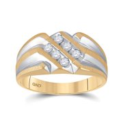 10kt Yellow Gold Mens Round Diamond Band Ring 1/4 Cttw Ring Size 10