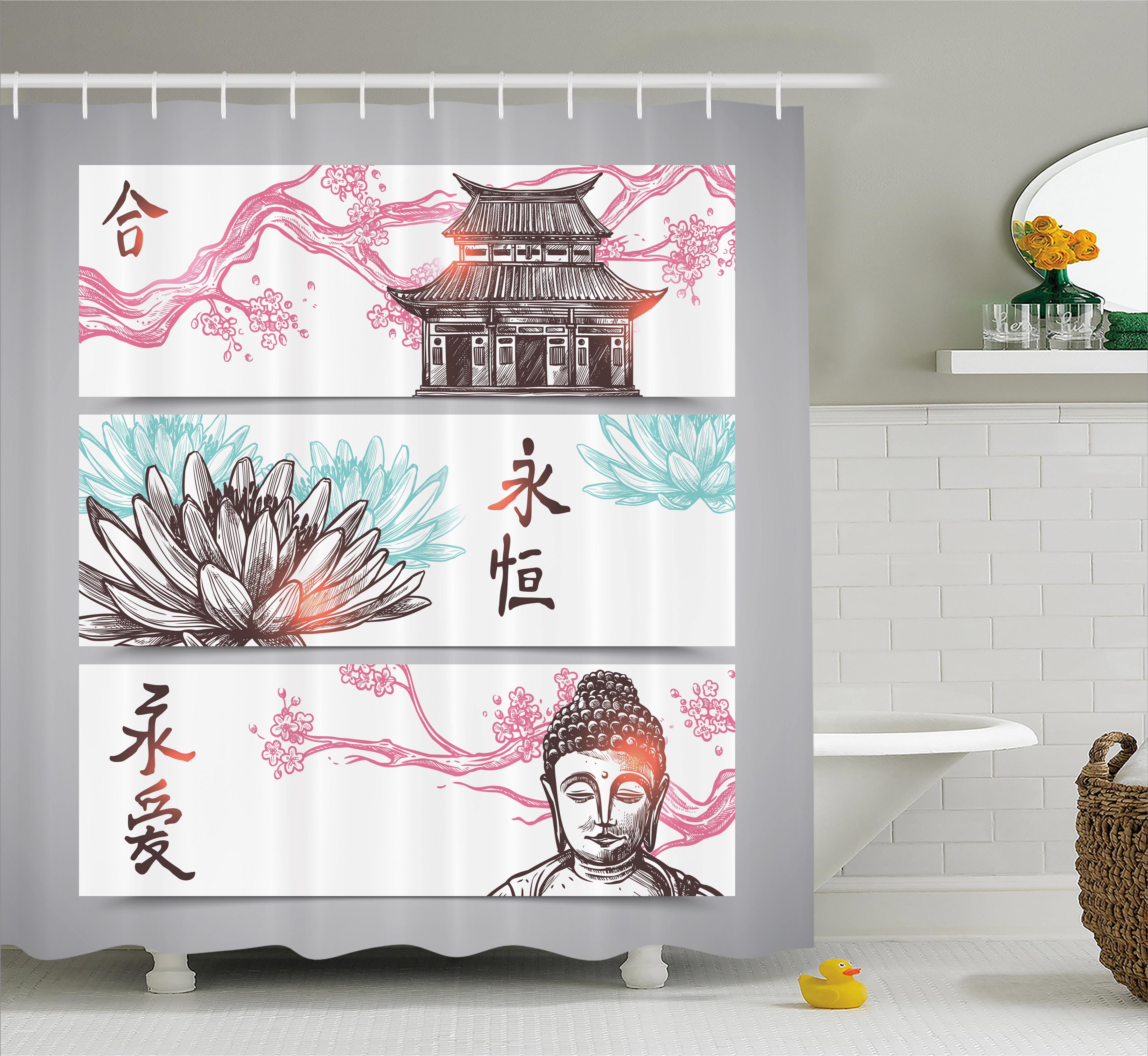 Ancient China Shower Curtain, Three-Part Asian Horizontal Banner Sketch of Pagoda Sakura Branch and Lotus, Fabric Bathroom Set with Hooks, 69W X 84L Inches Extra Long, Multicolor, by Ambesonne