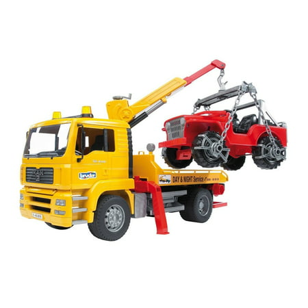 Bruder Toys MAN TGA Flatbed Tow Truck w/ Crane Cross Country Vehicle | 02750 - Hoppy Tow Vehicle
