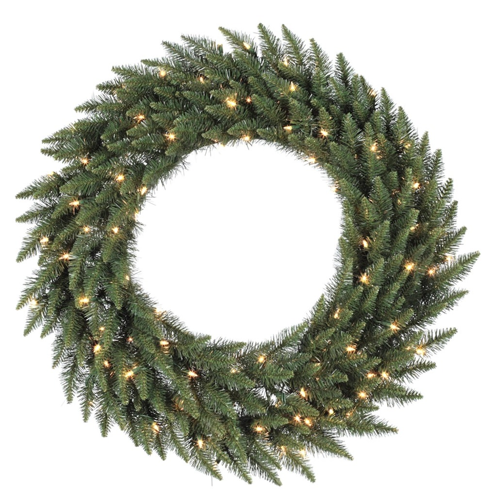 "Vickerman 17292 - 84"" Camdon Fir 400 Frosted Warm White Italian LED Lights Christmas Wreath (A861084LED)"