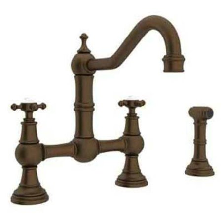Rohl U4755 Perrin and Rowe Bridge Kitchen Faucet and Metal Cross Handles, Available in Various Colors