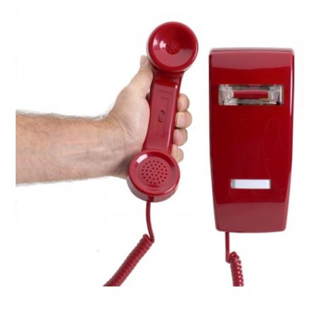 Industrial Hotline Dialer Wall-mount Phone - Red w/ - Wall Mount Wall Plate