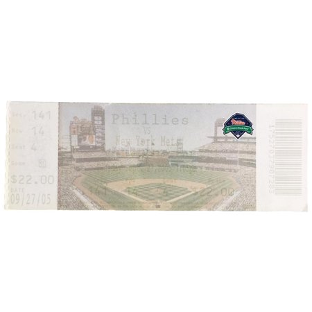 1986 Ny Mets - Philadelphia Phillies Sep 27 2005 vs NY Mets Ticket