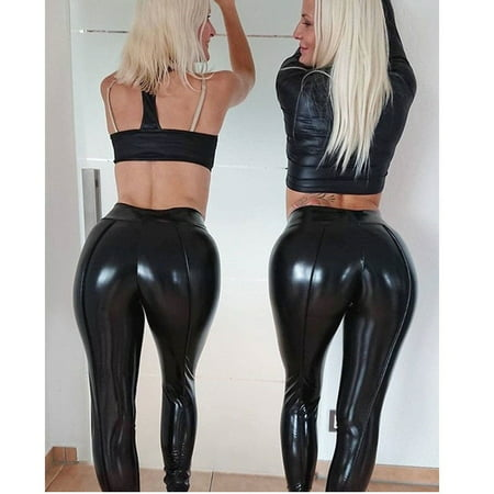 New Shiny Bling Faux Patent Leather Stretch Leggings Wet Look PVC Pants Trousers