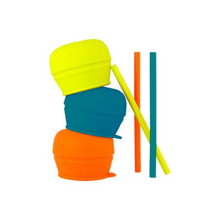 Boon Snug Lids & Straws, Universal Silicone Lids, Blue, Orange & Green, 3 Pk
