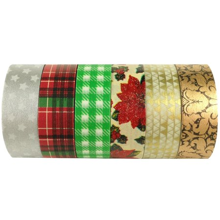 ALLYDREW Christmas Washi Tape Rolls Decorative Masking Tapes Set - 6 Rolls