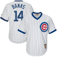 Ernie Banks Chicago Cubs Majestic Big & Tall Cooperstown Collection Cool Base Replica Player Jersey - White/Royal