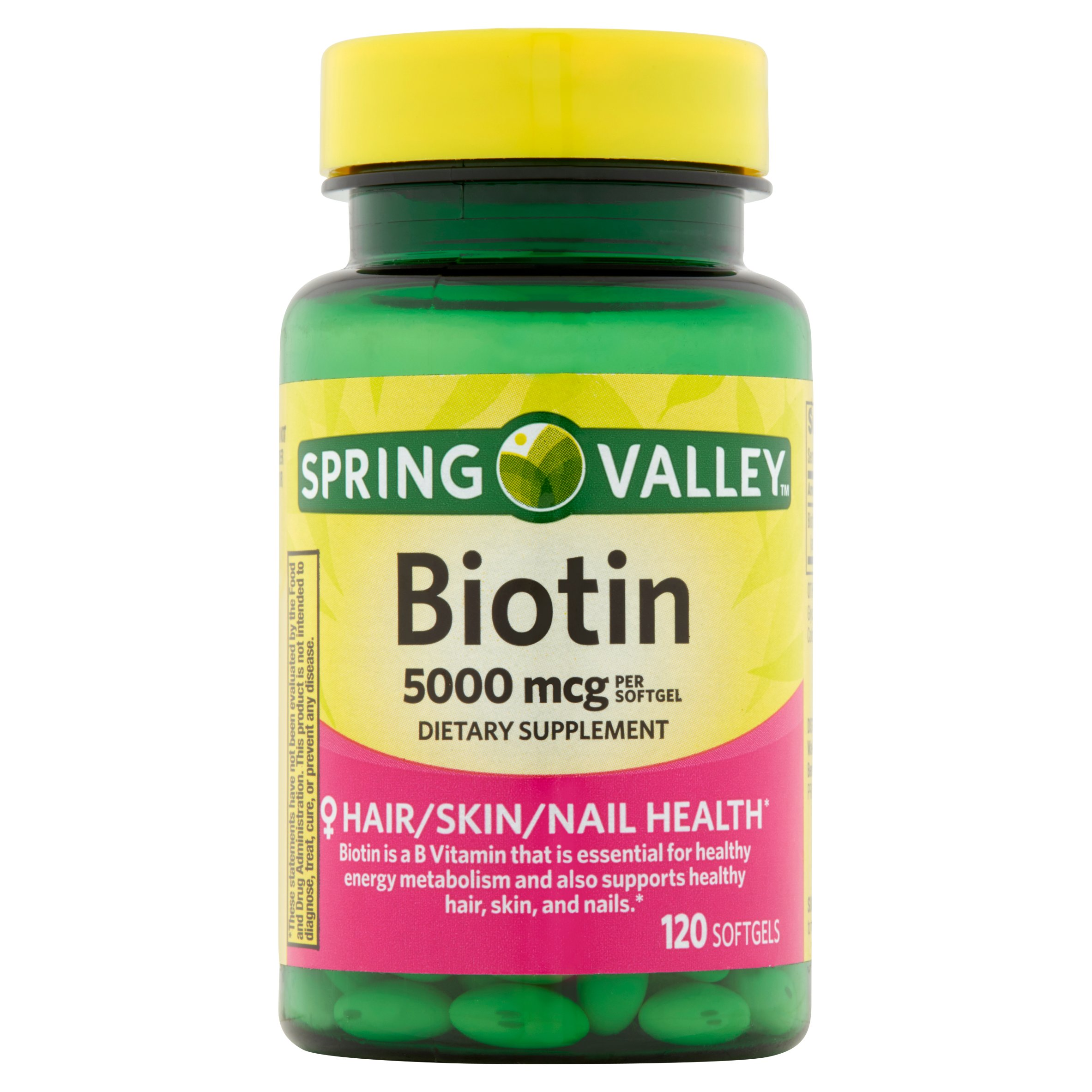 Spring Valley Biotin Softgels, 5000 mcg, 120 Ct