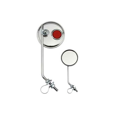 Red Beach Cruiser - Round Mirror Chrome Red Reflectors. bicycle mirror for lowrider , beach cruiser, chopper, limo, stretch bike, bmx, track,