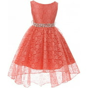 Girl Dress - Rhinestone Belt High Low Lace Pageant Graduation Flower Girl Dress Coral size 4 (Size 4-18)