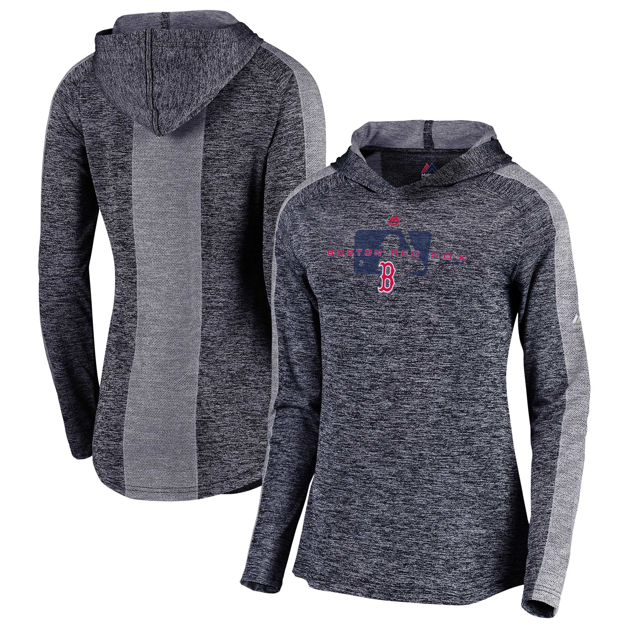 Boston Red Sox Majestic Women's Authentic Collection Ultra-Light Raglan Pullover Hoodie - Navy