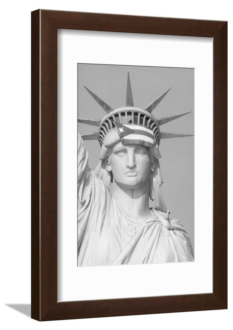 Satatue Of Liberty With Puartarican Flag Tattoo: Puerto Rican Flag On Statue Of Liberty Framed Print Wall