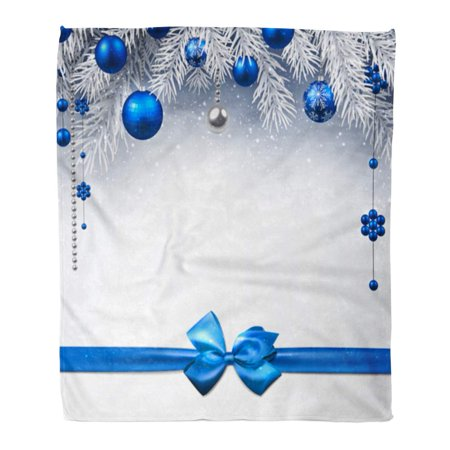 LADDKE Throw Blanket 50x60 Inches Silver Merry Blue New Year Christmas Balls and Bow Gray Ribbon Warm Flannel Soft Blanket for Couch Sofa Bed