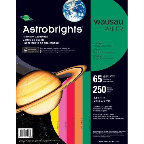 "Wausau Paper Astrobrights Card Stock - For Inkjet, Inkjet Print - Letter - 8.50"" X 11"" - 65 Lb - 250 / Pack - Green, Orange, Violet, Fuchsia, Yellow (WAU21004)"