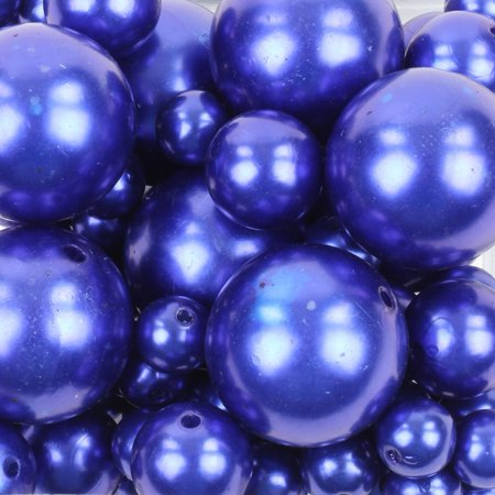 Koyal Wholesale Navy Blue 80 Piece Floating Pearl Beads In Transparent Water Gels, Wedding Floating Candle Centerpiece