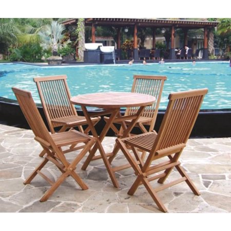 5 Pc Eco Friendly Patio Teak Round Chat Set
