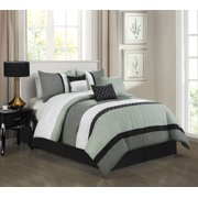 HGMart Bedding Comforter Set Bed In A Bag - 7 Piece Luxury Striped Microfiber Bedding Sets - Oversized Bedroom Comforters, King Size, Almarine Mint
