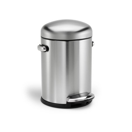 Simplehuman Round Retro Step Trash Can Stainless Steel