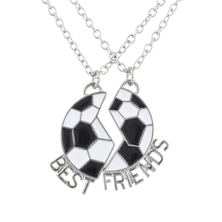Lux Accessories Silver Tone Soccer Sports Best Friends BFF Charm Necklace