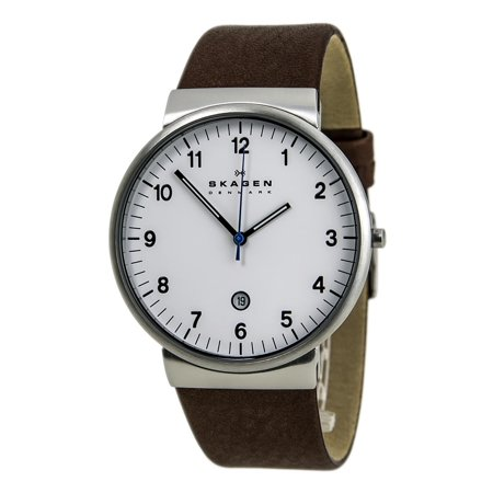 SKW6082 Men's Denmark Ancher Klassik White Dial Brown Leather Strap Date Watch Dial White Leather Watch