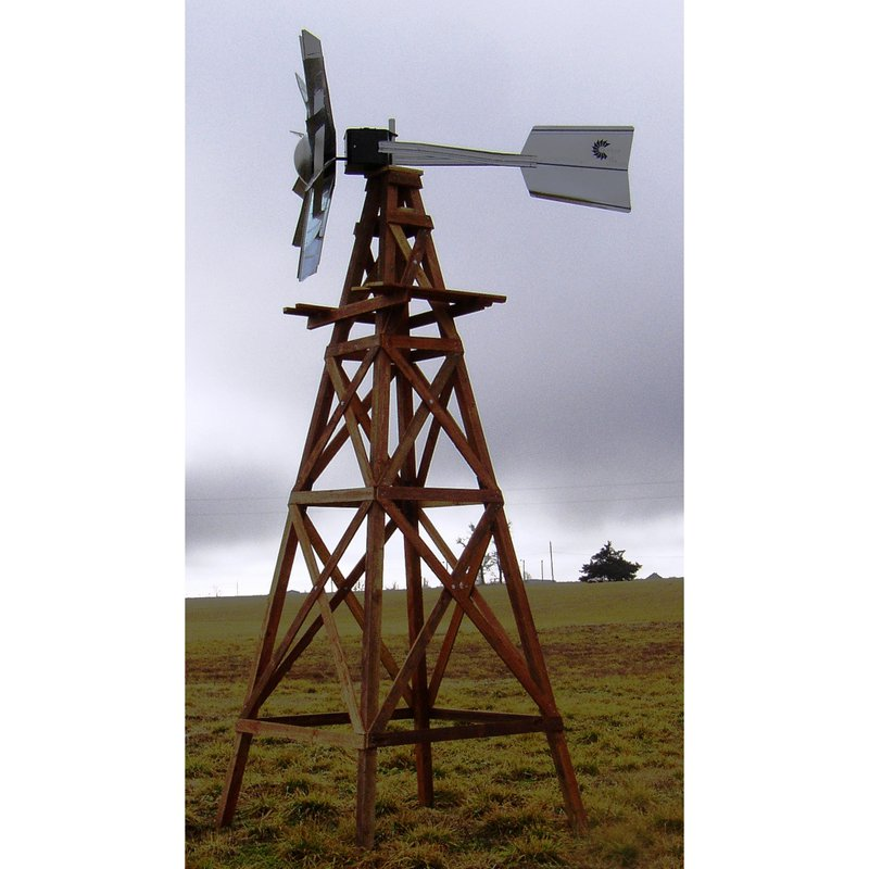 16 ft. 4 legged Wooden Ornamental Nonfunctional Windmill With Galvanized Steel Head by Outdoor Water Solutions