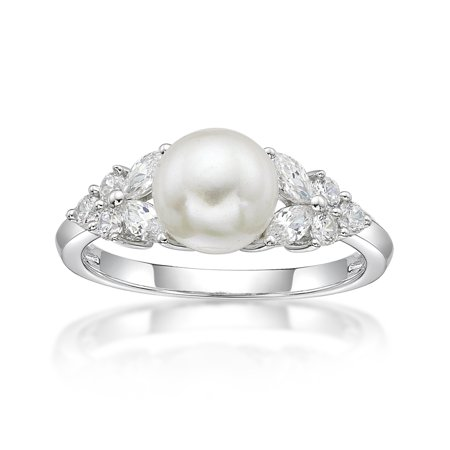 Sterling Silver Solid Fancy Ring - Sterling Silver Fancy Freshwater Pearl with white Cubic Zirconia accent Ring