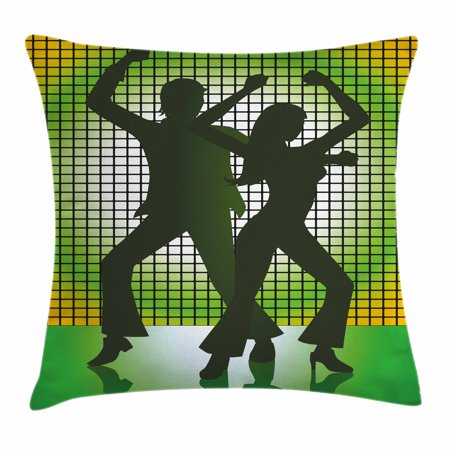 70s Party Decorations Throw Pillow Cushion Cover, Silhouette Illustration of Couple Dancing in Disco, Decorative Square Accent Pillow Case, 16 X 16 Inches, Light Green Dark Green Yellow, by Ambesonne