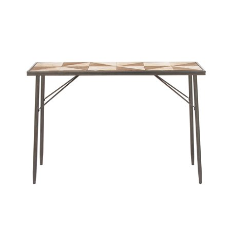 - Decmode Modern 32 x 47 inch cypress wood and iron tiled console table, Brown
