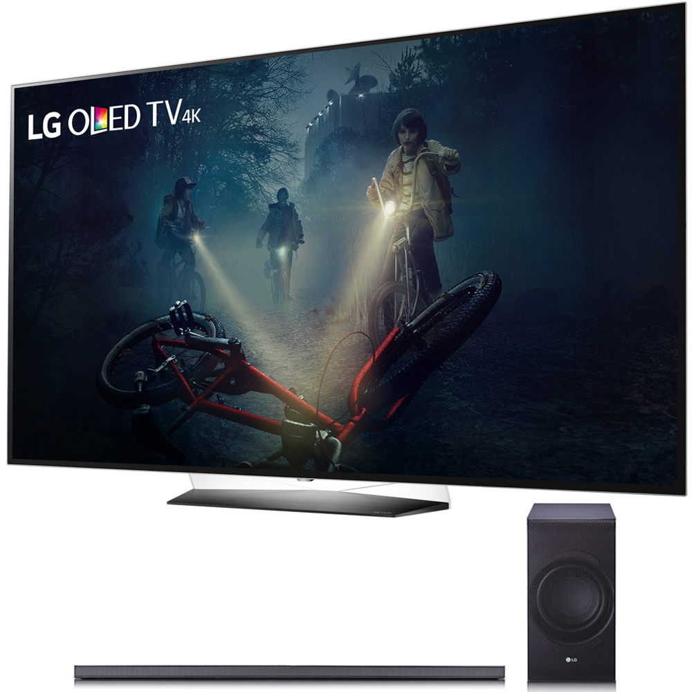 "LG B7A Series 65"" OLED 4K HDR Smart TV 2017 Model (OLED65B7A) with LG SJ8 300W 4.1-Channel Hi-Fi Bluetooth Audio Sound Bar with Wireless Subwoofer"