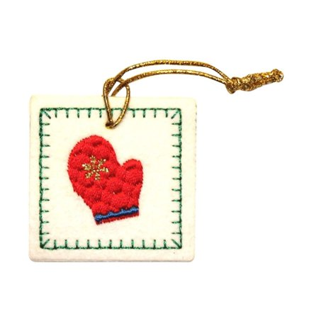 ID 8094 Mitten Bag Tag Patch Christmas Present Gift Felt Iron On Applique