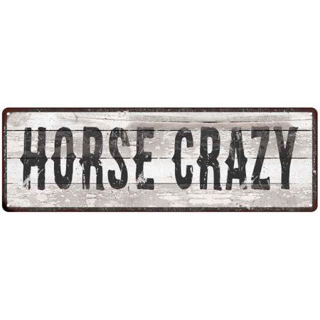 - HORSE CRAZY Ship Lap Look Country Chic 6x18 Metal Sign Wall Decor 206180044117