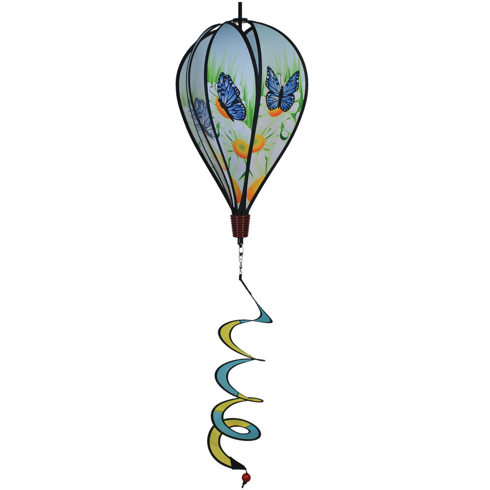 In the Breeze Blue Karner Butterfly 6-Panel Kinetic Hot Air Balloon Wind Spinner by In The Breeze