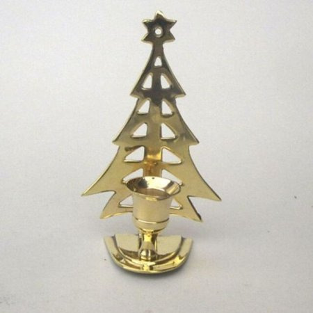 India Overseas Trading BR22374 - Brass Christmas Tree Candle - India Tree India Pastries