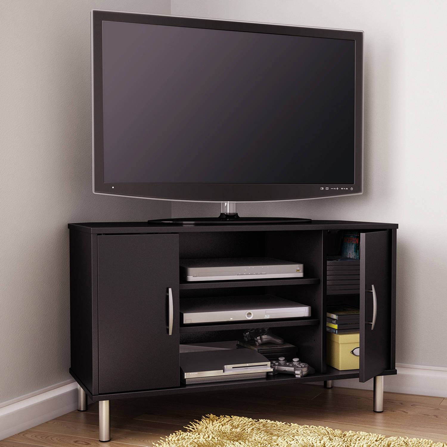 south shore renta corner tv stand for tvs up to  multiple  - south shore renta corner tv stand for tvs up to  multiple finishes walmartcom