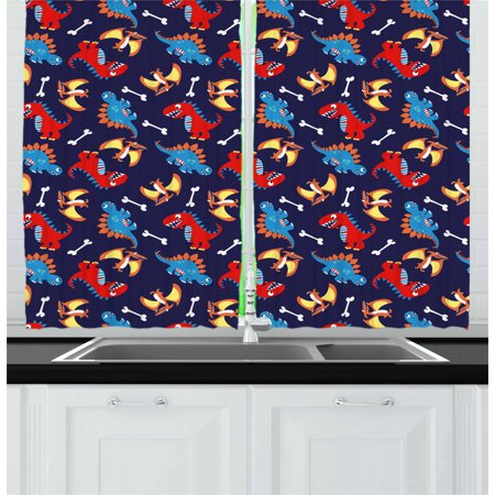 Dinosaur Curtains 2 Panels Set, Three Different Cartoon Dinosaurs Funny Expressions and Bones Kids Theme, Window Drapes for Living Room Bedroom, 55W X 39L Inches, Navy Blue Orange Red, by Ambesonne ()