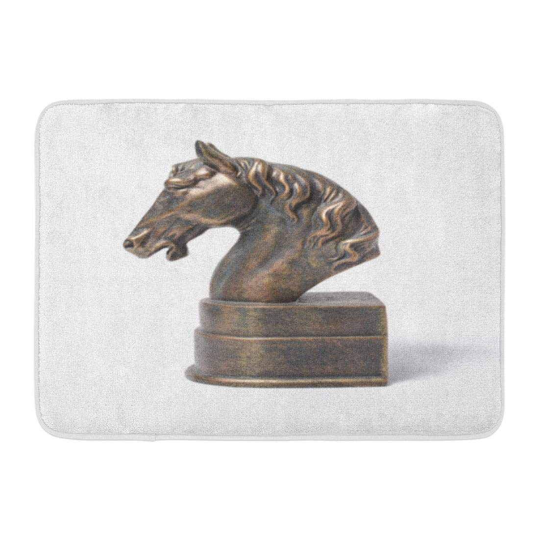 GODPOK Antique Book Bronze Statuette of Horse White Bust Holder Rug Doormat Bath Mat 23.6x15.7 inch
