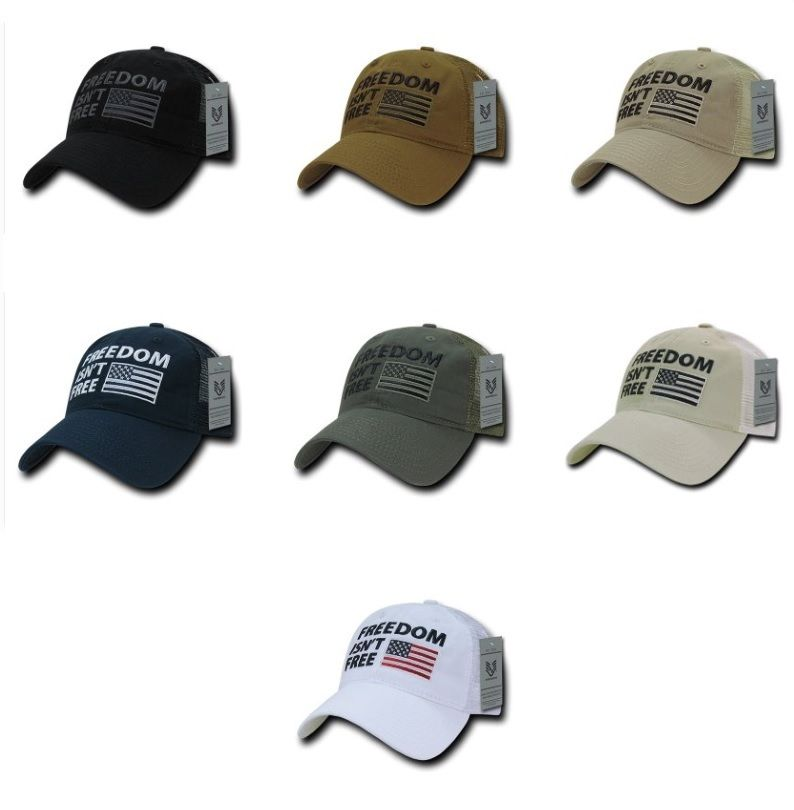 Freedom Isn't Free USA US America Military Pride Polo Trucker Baseball Hat Cap-Black