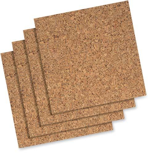 "Quartet Natural Cork Tiles, 12"" x 12"", Frameless, Modular, 4-Pack"