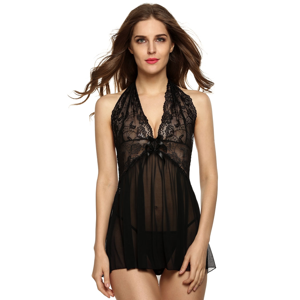 Avidlove Women Sexy Lingerie with G-string Backless See-through Sleepwear underwear Night Dress