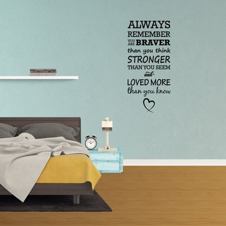 Wall Decal Quote Always Remember You Are Braver Than You Think