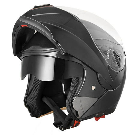 AHR Motorcycle Helmet Modular Flip up Full Face Dual Visor DOT Approved Motocross Color/Size Opt