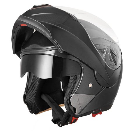 AHR Motorcycle Helmet Modular Flip up Full Face Dual Visor DOT Approved Motocross Color/Size -