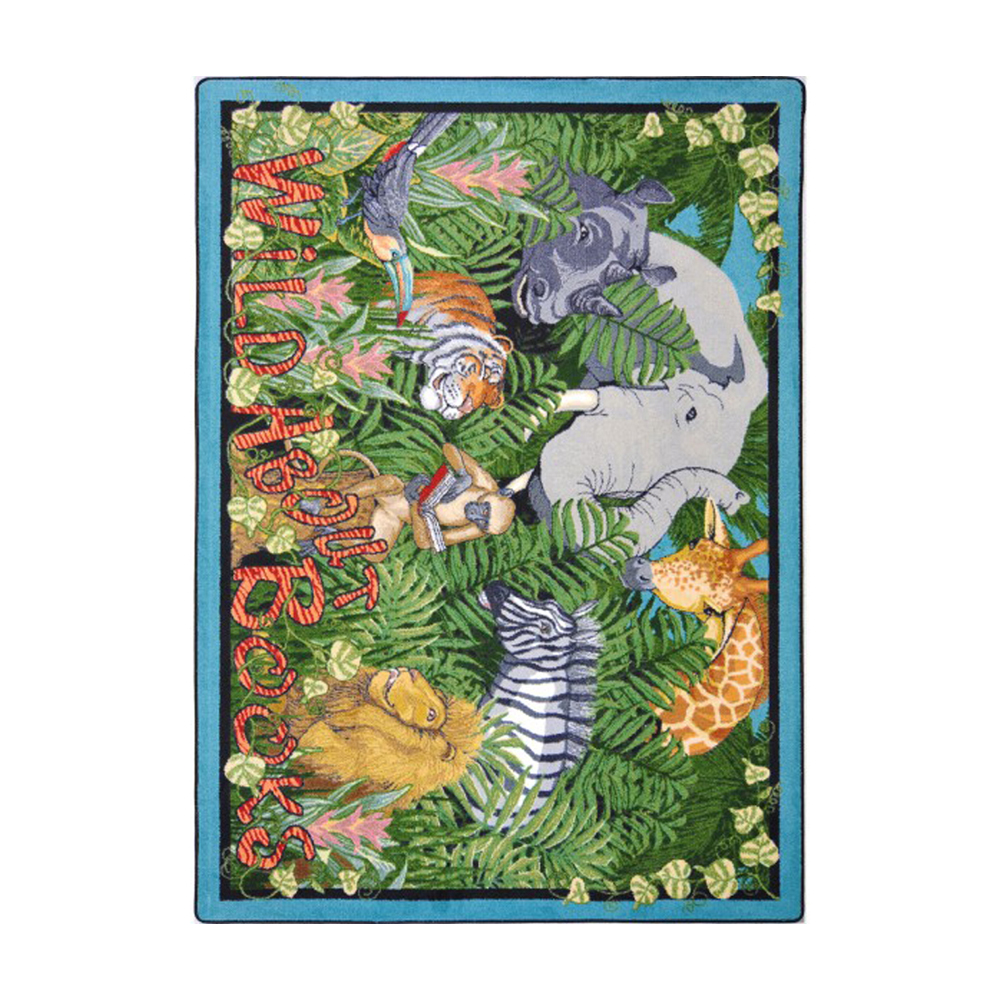 "Joy Carpets Kid Essentials Language & Literacy Wild About Books Rectangle Area Rug 5'4"""" x 7'8"""" Multicolor"