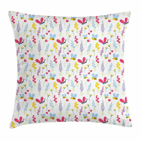 Summer Of Love Theme (Bee Throw Pillow Cushion Cover, Love of Nature Summer Flowers and Flying Bees and Insects Illustration Floral Theme, Decorative Square Accent Pillow Case, 20 X 20 Inches, Multicolor, by)