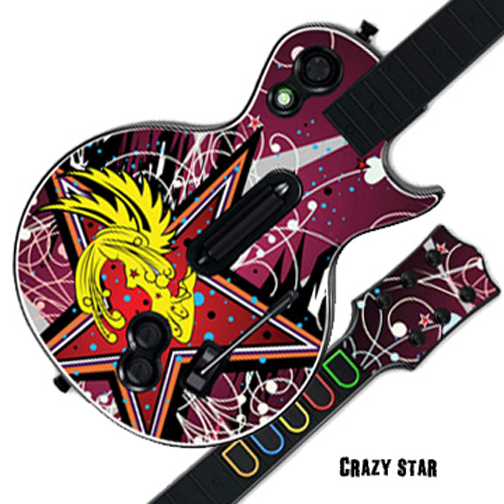 Mightyskins Protective Skin Decal Cover Sticker for GUITAR HERO 3 III PS3 Xbox 360 Les Paul - Crazy Star